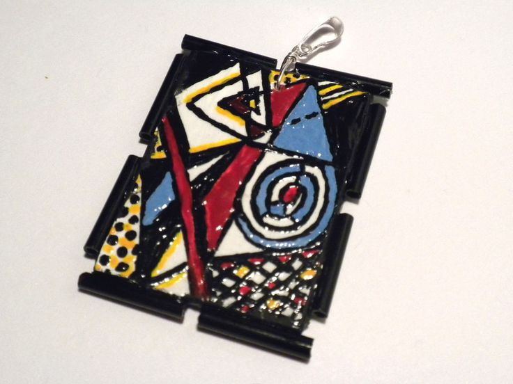 #necklace, #handmade, #jewelry, #hand-painted, #composition