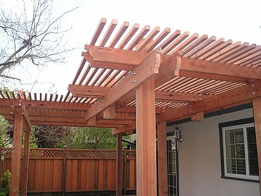 Patio Cover Nicely Stepped Redwood With Floating