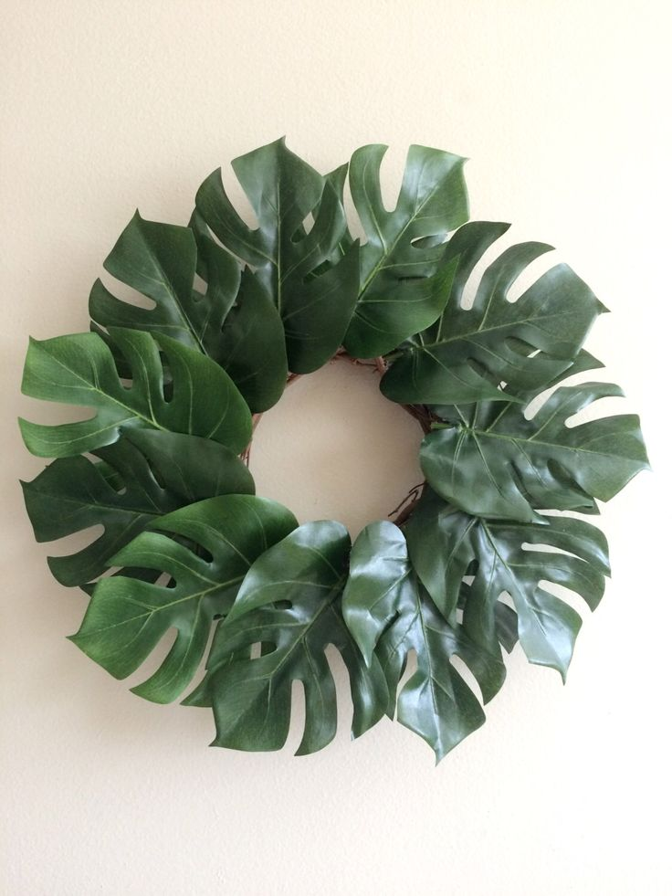 Tropical leaves wreath - get fake leaves from Michael's and a wreathe backing