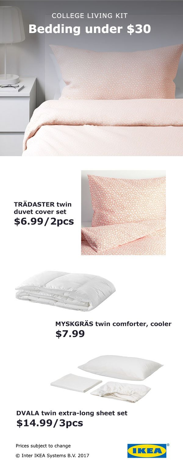 It's easier to go away to college when you know you'll be comfortable. What better way to put comfort first than by updating your sleep space? Make the most of your new dorm room or college space with IKEA bedding kits starting at $30! Choose from our many stylish and affordable bedding options for the college bedroom style that's right for you!