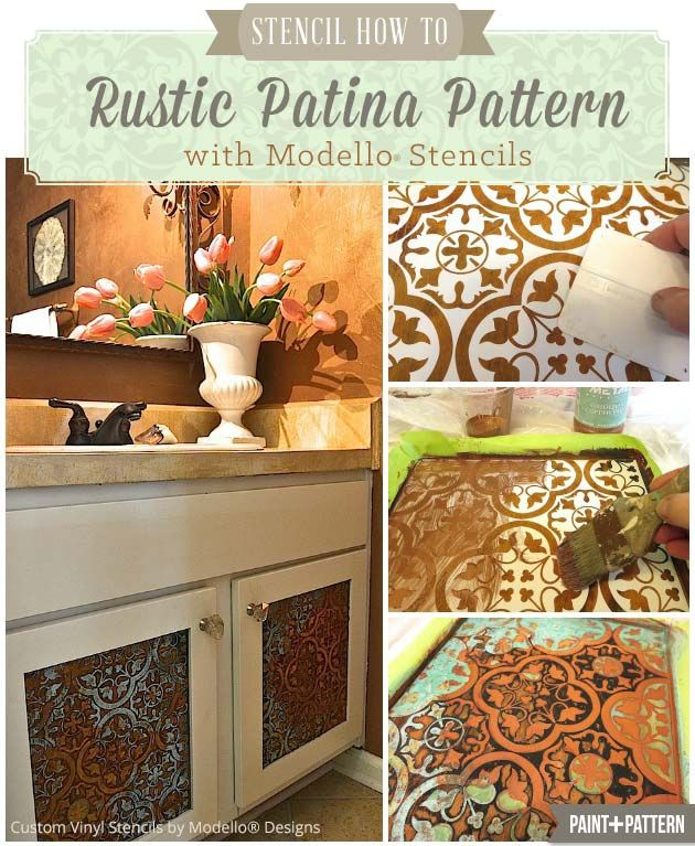 How to Stencil a Rustic Patina Pattern on Bathroom Cabinets - Custom Vinyl Stencils on Bathroom Cabinet Door DIY | Modello® Designs http://www.modellocustomstencils.com/