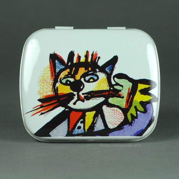 OTMAR ALT - Katze Cat Mini Pillendose Mintdose Blechdose Döschen m. Bild Katzen