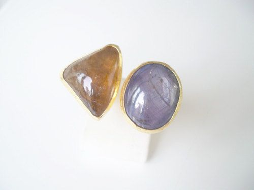 Gold plated  Amethyt and  Citrine Dual ring by beadycats on Etsy
