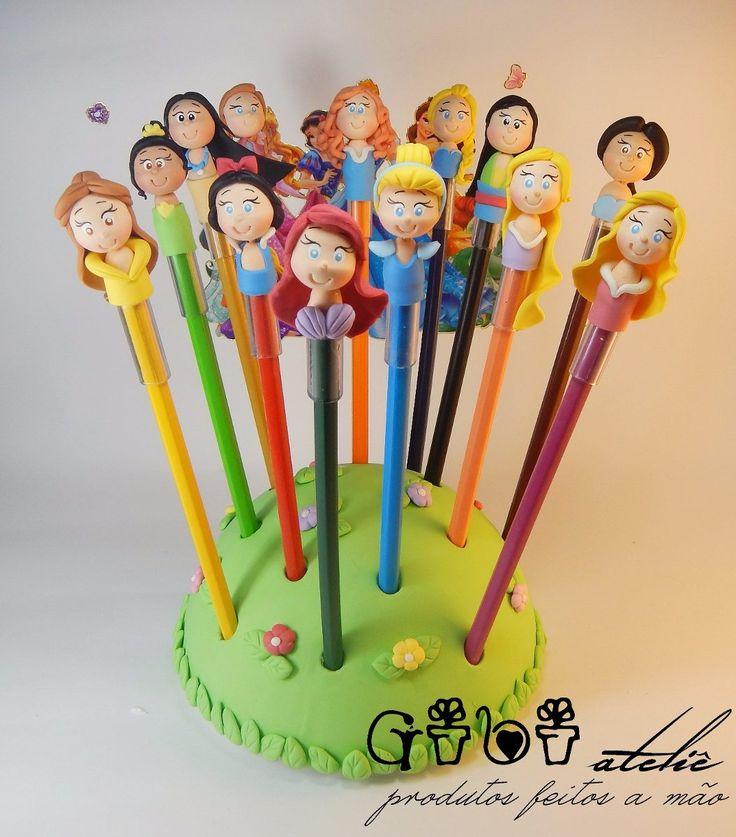 Ponteiras Para Lápis Princesas Disney Em Biscuit!! - R$ 1,80 no MercadoLivre