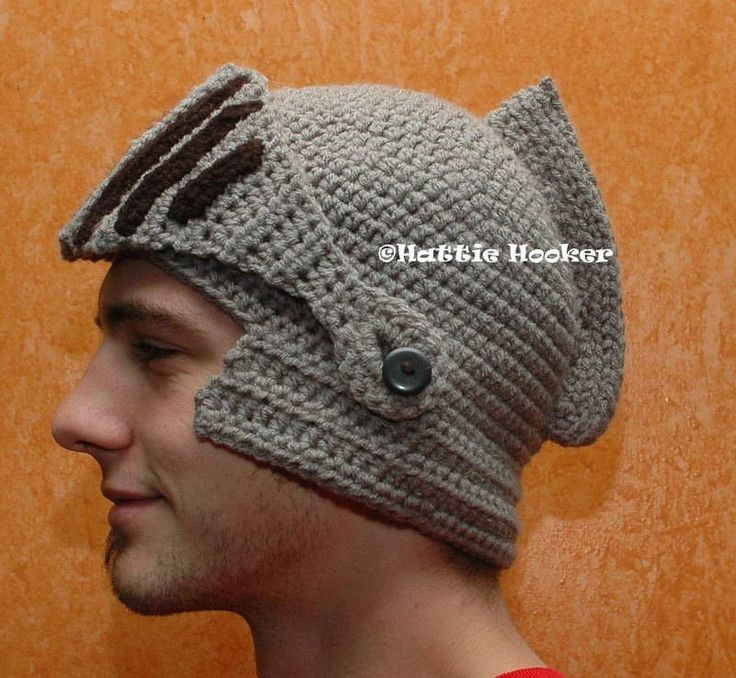 Crocheted knight's helmet, with movable mouthguard/visor - This is blowing my mind right now and always