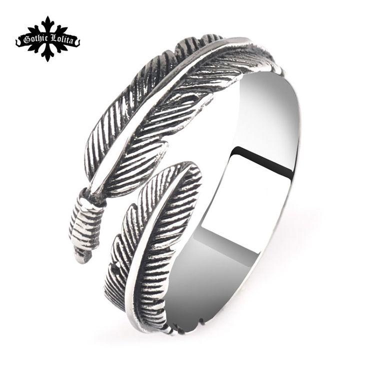 Старинные панк перо открыть кольцо любители мизинец кольцо из нержавеющей стали мода хвостик палец кольцо женщины ювелирные изделия купить на AliExpress