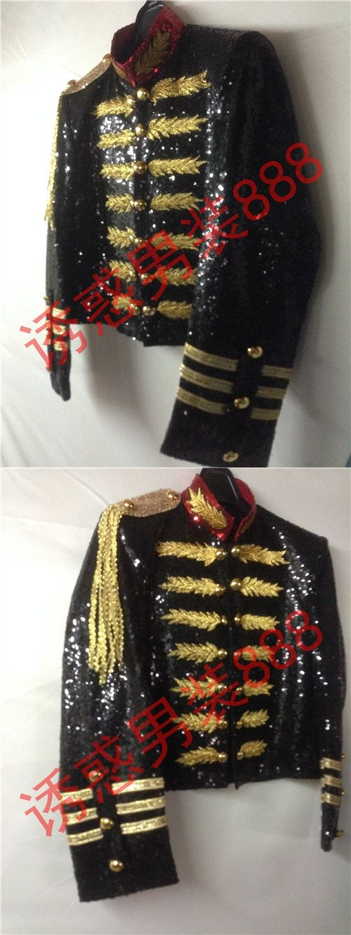 black full sequined golden embroidery mens tuxedo jacket/can customs size making