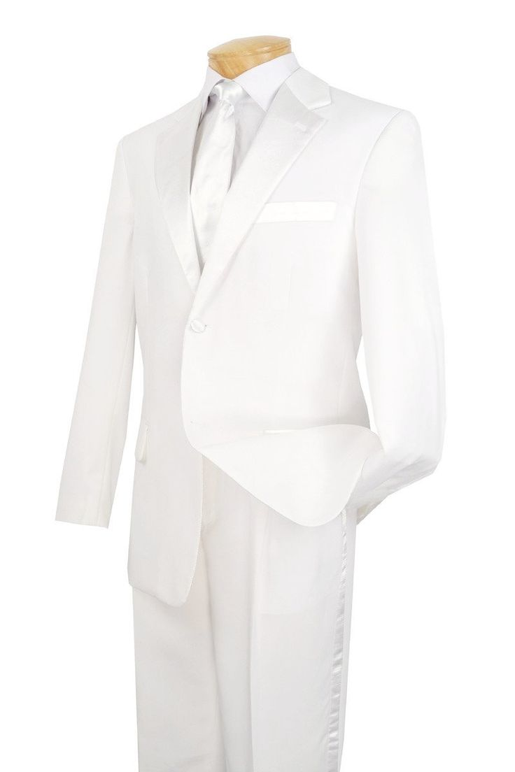 Wedding Suit for Men Classic Fit Tuxedo in White Two Buttons Design