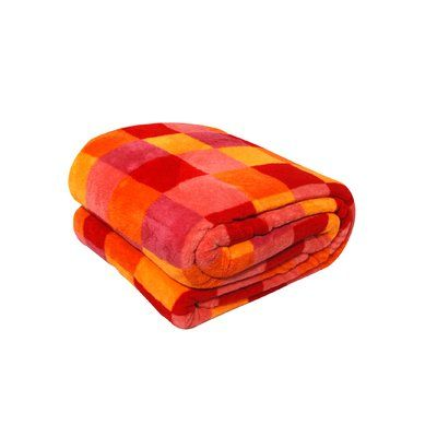 LCM Home Fashions, Inc. Luxury Printed Check Plush Blanket Size: Full / Queen, Color: Orange
