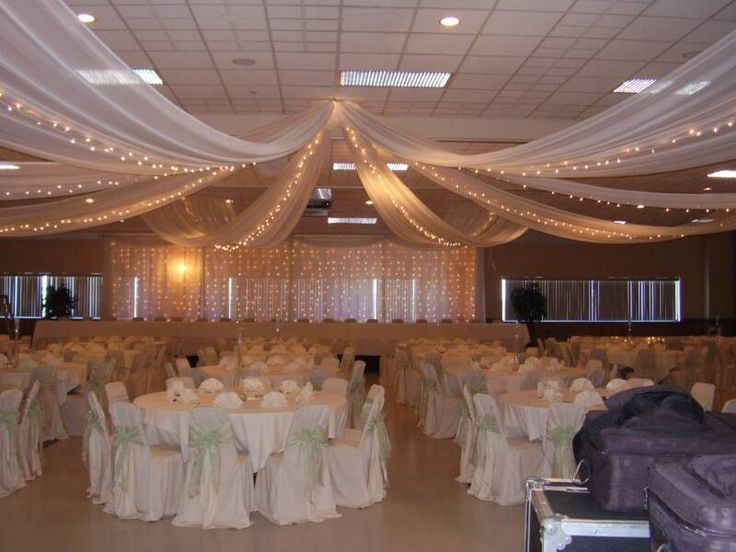 diy wedding reception lighting. Tulle Ceiling Decorations I Think We Could Do This Ourselves With Enough And Proper Adhesives To Make It Stay Up Adds Good Lighting Diy Wedding Reception