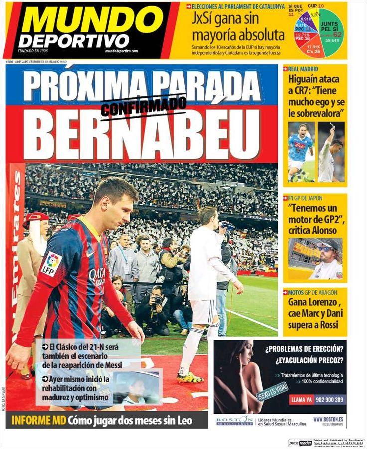 Portada Mundo Deportivo 28/09/2015