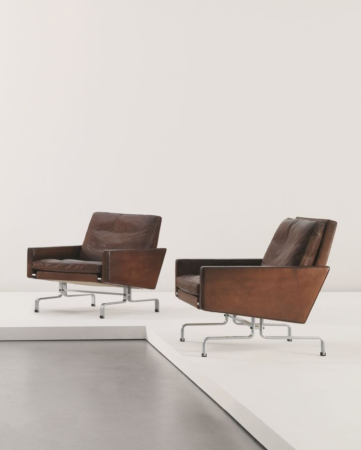 Poul Kjærholm; #PK 31Chromed Steel and Leather Armchair for E. Kold Christiansen, c1959.