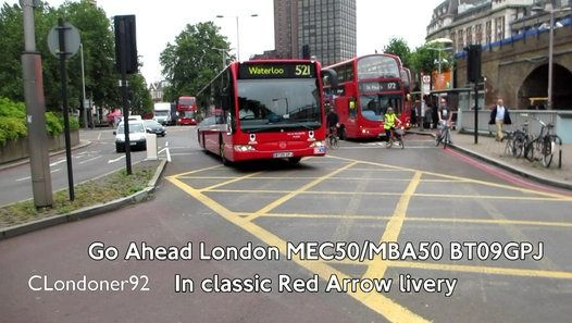 Go Ahead London Mercedes-Benz Citaro MEC50/MBA50 BT09GPJ in classic Red Arrow livery for London Buses routes 507 and 521  http://clondoner92.blogspot.co.uk/2016/04/50-years-of-red-arrow-bus-service.html