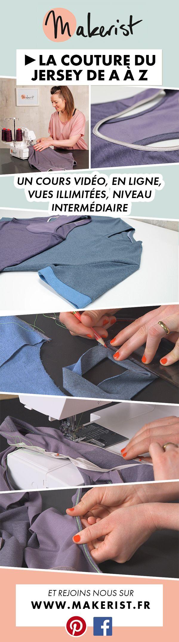 Cours de #couture, #tuto couture pour apprendre à #coudre le jersey, les #biais élastiques, les #empiècements, #cols en V...