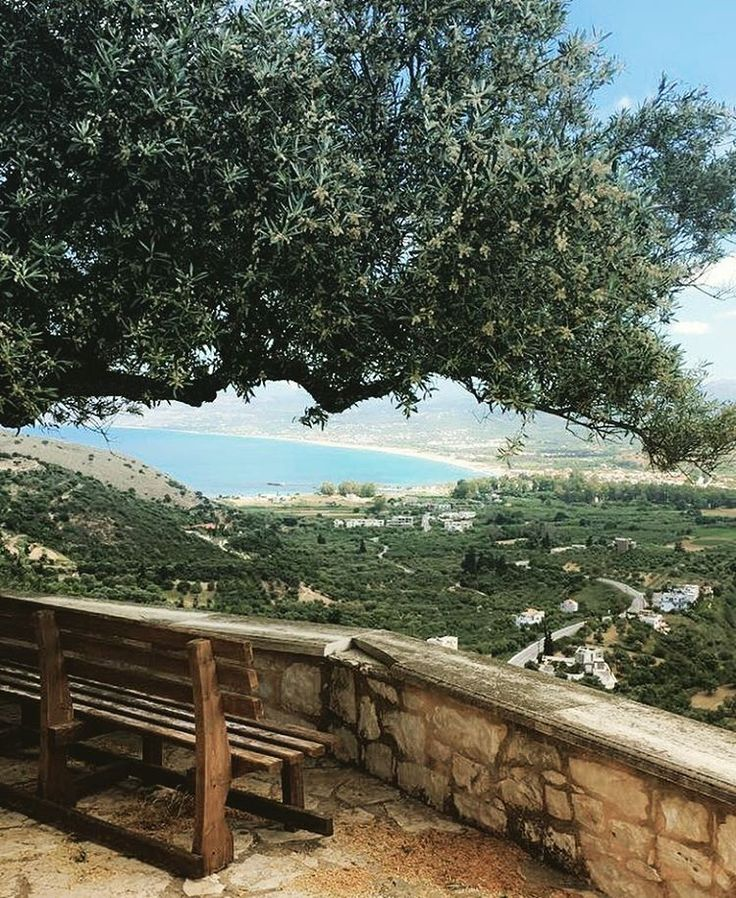 A ponder place #❤️ #exopoli #crete #churchonamountain #view #georgioupolis #woodenbench #olivetree #shadeunderthetree