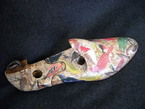 Vintage solid wood mens shoe form decorated by ArtCollagebyFiona, $37.00