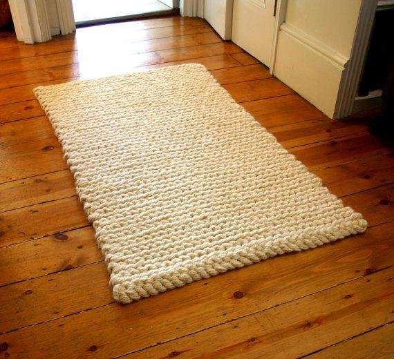 Rug Crochet Rug Mat Chunky Cream Pure Wool Rug By