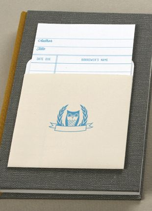 owl library checkout card & pocket!