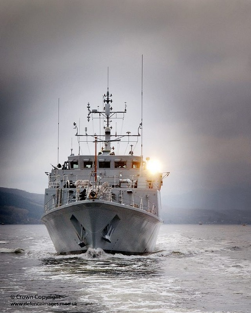 Royal Navy Sandown Class Minehunter HMS Blyth is pictured sailing from HMNB Clyde in Western Scotland.