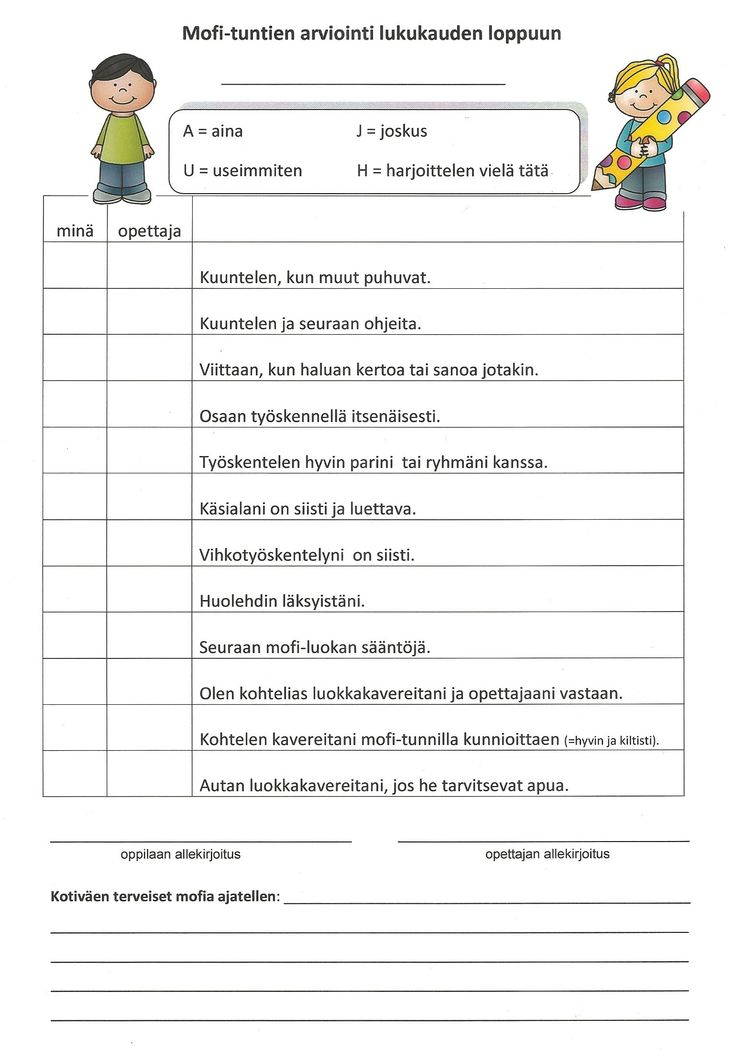 Itsearviointi ja opettajan arviointi kolmannen luokan keväällä. Oppilas tekee…