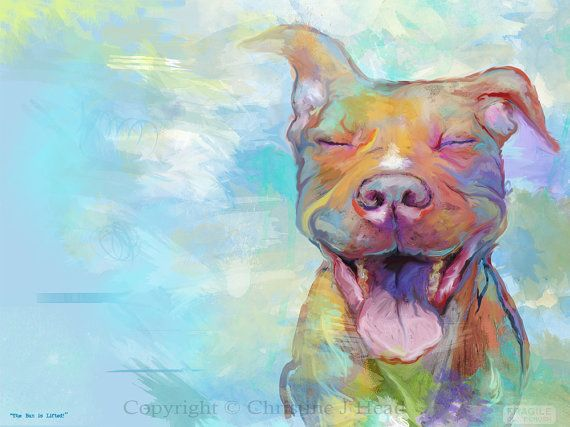 """Pit Bull """"The Ban Is Lifted"""" Fine Art Poster Print Fall Colors Pitbull s/n limited. $75.00, via Etsy."""