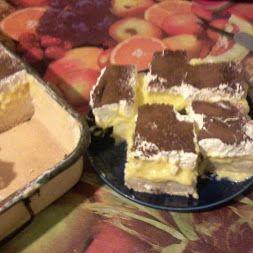 Grízes-krémes sütés nélkül Hozzávalók: 400 g háztartási keksz 1 l tej 10…