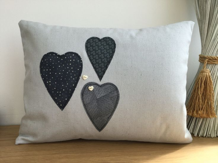 2016-8 Heart Appliqué Cushion - Designed and made  by Jan