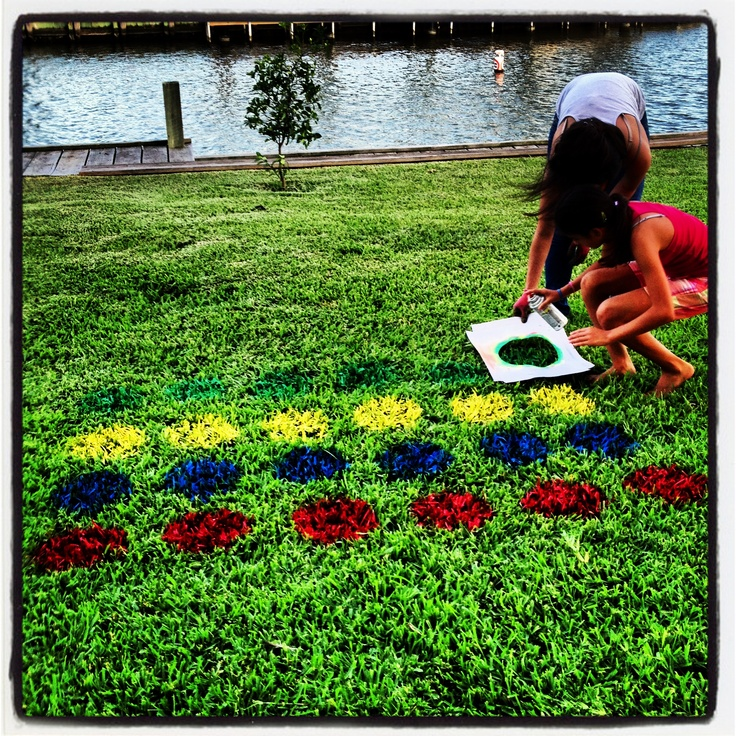 Outdoor Twister game for outdoor summer play! Used Outdoor All Purpose spray-can paint.