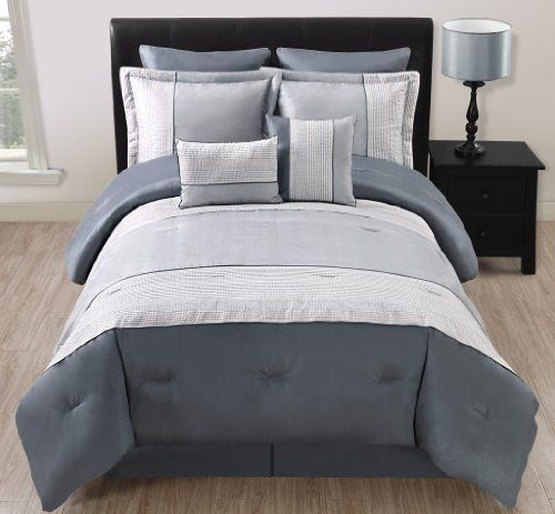 12 Piece Cal King Madden Gray and Silver Bed in a Bag Set