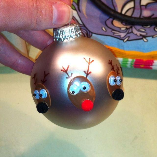 Thumbprint reindeer ornaments for the grandparents!