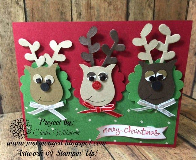 """Just Sponge It: Reindeer Card, Owl Builder Punch, Small Oval Punch,  1 3/4"""" Scalloped Circle Punch, Flower Fair Framelits, Good Greetings Stamp Set, Trim the Tree Dsp, Christmas Cards, Stampin' Up!, DIY,"""