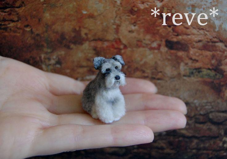 OOAK Handmade Miniature Schnauzer Dog Sculpture by ReveMiniatures.deviantart.com on @deviantART