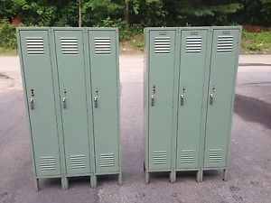 30 3 door sections lockers metal school gym storage employee locker green ebay - Employee Lockers