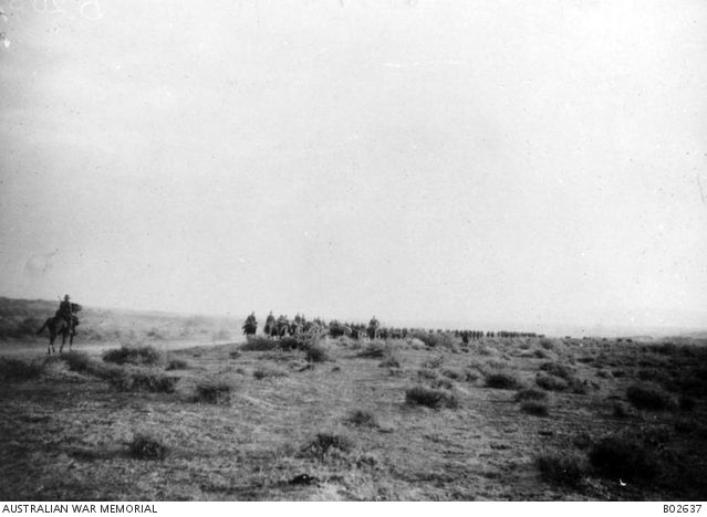 The 1st Australian Light Horse Brigade moving back to Ghoraniyeh, in the Jordan Valley, after the first of the operations at Amman. Ottoman Empire: Transjordan, Ghoraniyeh, 3 April 1918
