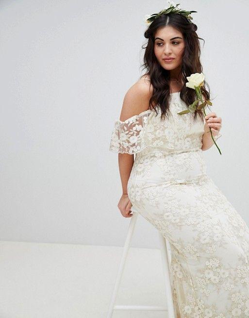 0bc731b1505 ASOS Curve | ASOS EDITION Curve Floral Lace Bandeau Maxi Wedding Dress