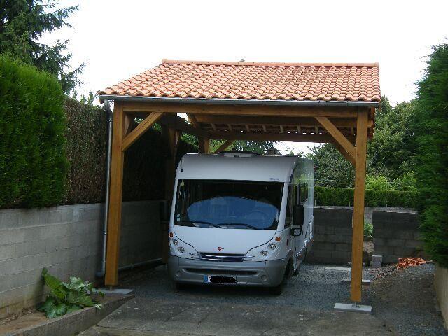 Abri camping car en ch ne dim 4 x 8 x 3 m de passage sous for Abri auto bois