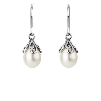 Pearl Devotion Drops -Delicate silver koru's frame this elegant white pearl which symbolises beauty and devotion... NZ silver pendant - evolve-jewellery.co.nz