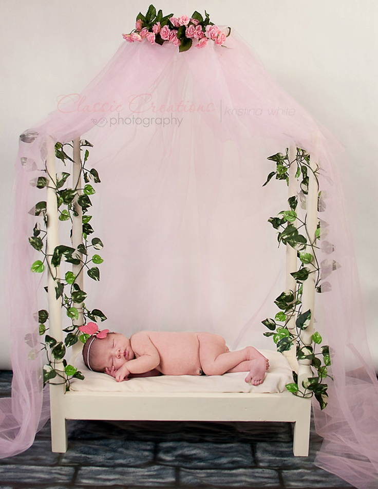 Newborn post/canopy bed photo prop by VintageRosebyCC on Etsy, $55.00