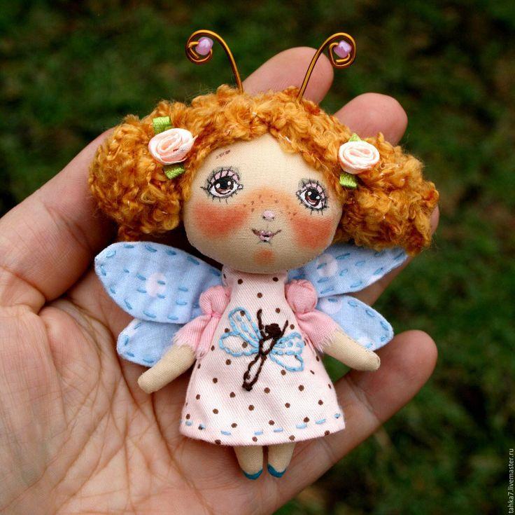 Купить Брошь девочка стрекоза . Брошь куколка. - голубой, розовый, брошь…