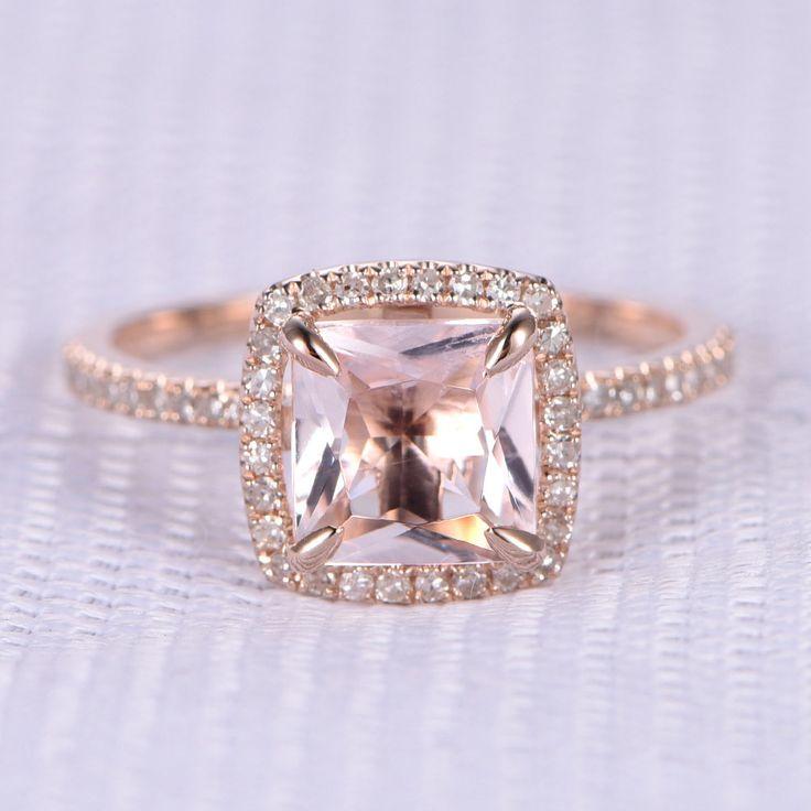 6.5mm Princess Cut Morganite and Diamond Engagement Ring 14k Rose gold Cushion Halo Stacking Band