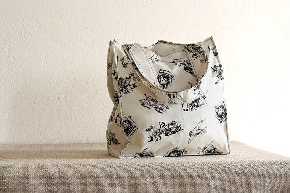 Tote bag, shopping bag, shoulder bag,black and white