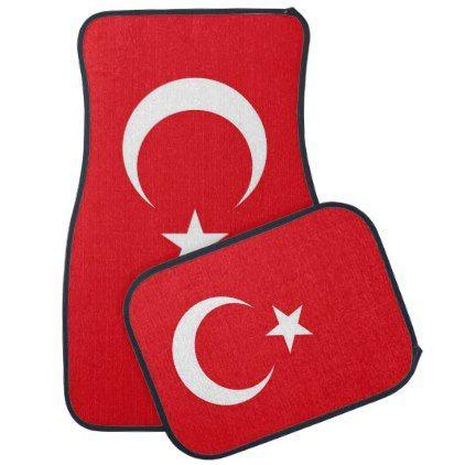 Set of car mats with Flag of Turkey - elegant gifts gift ideas custom presents