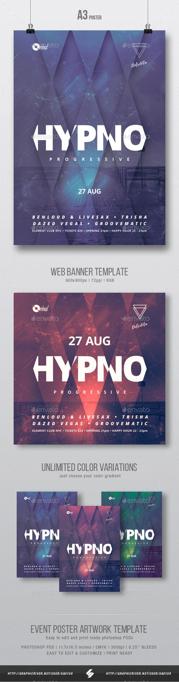 Electronic music event, party flyer template suited for different genres of electronic music like minimal, techno, techhouse, progressive, dubstep, chillstep, drum and bass, electronica, trance, electro, deep house,...etc. Include square web banner template for instagram, faceboook,...etc.