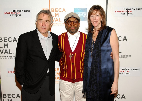 "Tribeca Film Festival co-founder Robert DeNiro, director Spike Lee and Tribeca Film Festival co-founder Jane Rosenthal attend a screening of ""Kobe Doin' Work"""