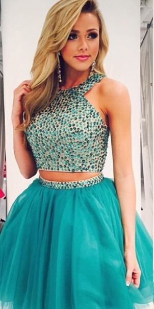 Turquoise Homecoming Dress,Tulle Homecoming Dresses,2 Piece Homecoming Dress,,2 Pieces Party Dress