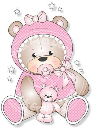 Digital Digi Baby Girl Teddy Stamp by PinkGemDesigns on Etsy