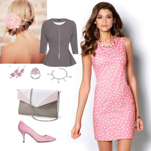 Set: růžová, bílá, šedivá #pink #grey #white #fashion #dress #dots #comfortable #saty #puntíky #ruzova #moda