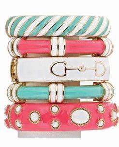 : Arm Candy, Colors Combos, Colors Combinations, Cute Bracelets, Colors Schemes, Enamels Bracelets, Summer Colors, Accessories, Jewelry Boxes
