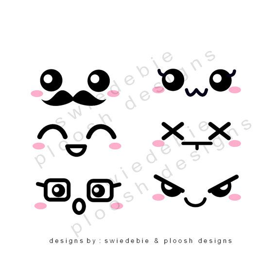 Digital Prints of 6 Kawaii Faces for Cards, Tags, Scrapbooking, Collage, Stickers, Namecards