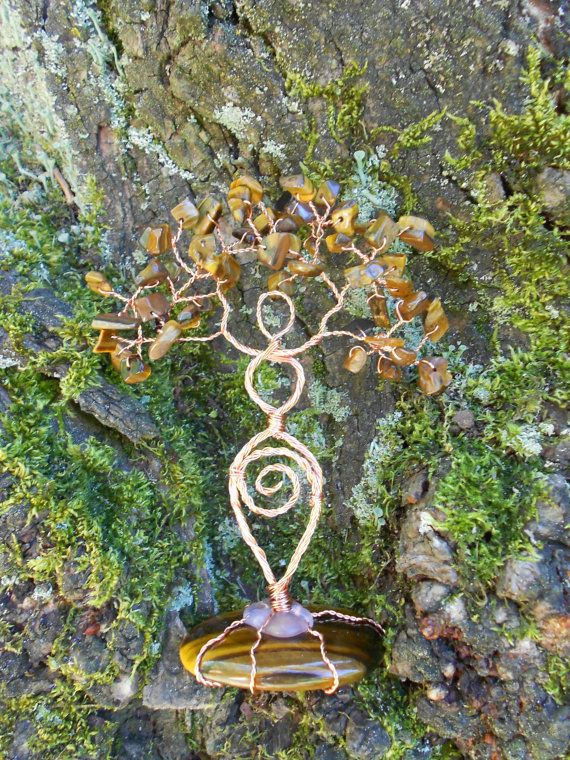 Tigers Eye and Copper Twisted Wire Tree Goddess by NewMoonEmporium, $47.00
